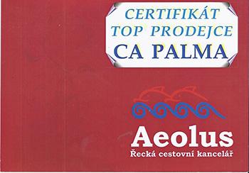 Certifikát TOP PRODEJCE CK Aeolus pro CA PALMA - Alena Francová