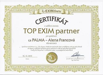 Certifkát TOP EXIM partner pro CA PALMA - Alena Francová