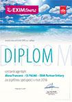 Diplom EXIM Tours pro CA PALMA Svitavy 2016