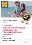 Certifikát neckermann za nejlepšího prodejce autem evropou v pardubickém kraji za rok 2013 pro CA PALMA Alena Francová