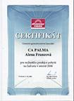 Certifikát pro nejlepšího prodejce zájezdů na Jadranu v roce 2006 pro CA PALMA od CK Vítkovice Tours
