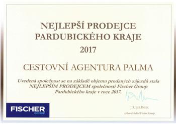 certifikát nejlepšího prodejce zájezdů ck fischer v pardubickém kraji 2017