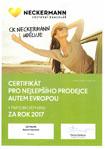 certifikát nejlepšího prodejce autem evropou ck neckermann