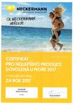 certifikát nejlepšího prodejce dovolené u moře ck neckermann