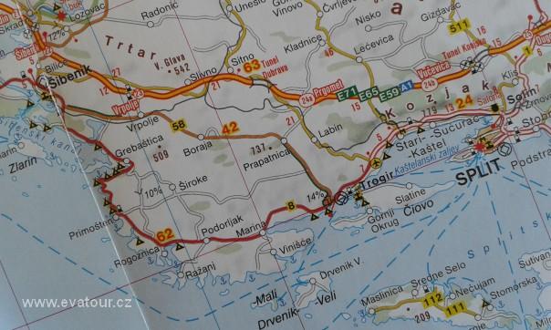 Chorvatsko Cesta Z Trogiru Po Jadranske Magistrale Do Sibeniku