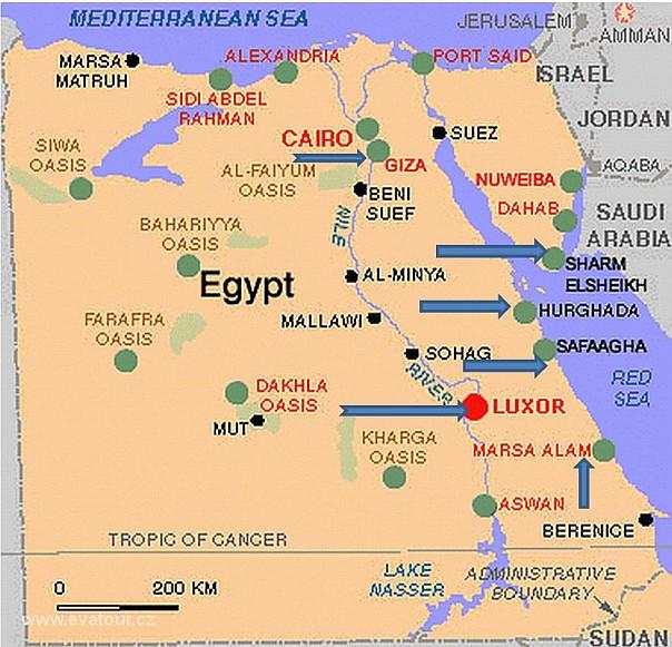 Mapa Egypt Mapa Letovisek